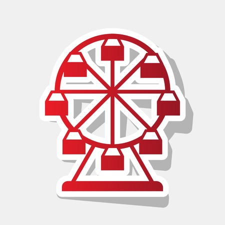 Ferris wheel sign. Vector. New year reddish icon with outside stroke and gray shadow on light gray background.