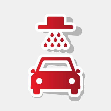 Car wash sign. Vector. New year reddish icon with outside stroke and gray shadow on light gray background.