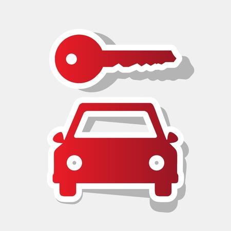 locksmith: Car key simplistic sign. Vector. New year reddish icon with outside stroke and gray shadow on light gray background.