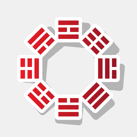 taijitu: Bagua sign. Vector. New year reddish icon with outside stroke and gray shadow on light gray background.