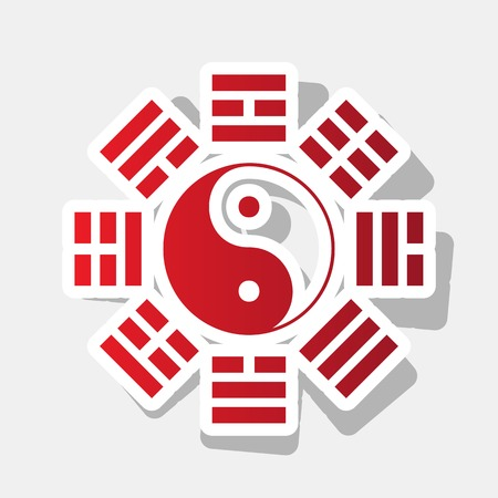 trigram: Yin and yang sign with bagua arrangement. Vector. New year reddish icon with outside stroke and gray shadow on light gray background. Illustration