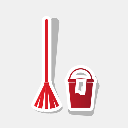 Broom and bucket sign. Vector. New year reddish icon with outside stroke and gray shadow on light gray background.