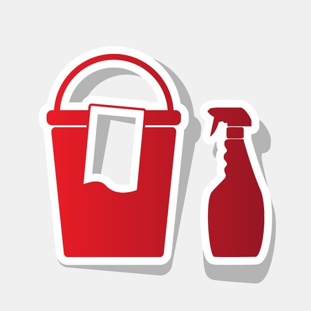 Bucket and a rag with Household chemical bottles. Vector. New year reddish icon with outside stroke and gray shadow on light gray background.