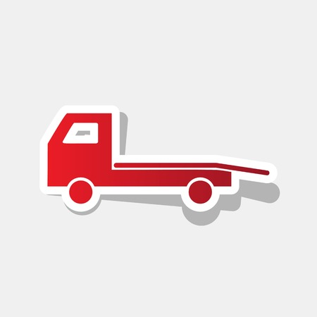the wrecker: Vehicle for towing, wrecking, adn evacuation.. Vector. New year reddish icon with outside stroke and gray shadow on light gray background.