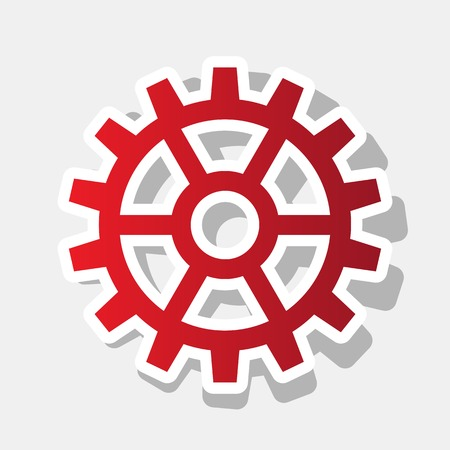 Gear sign. Vector. New year reddish icon with outside stroke and gray shadow on light gray background. Illustration