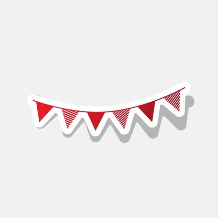 Holiday flags garlands sign. Vector. New year reddish icon with outside stroke and gray shadow on light gray background.