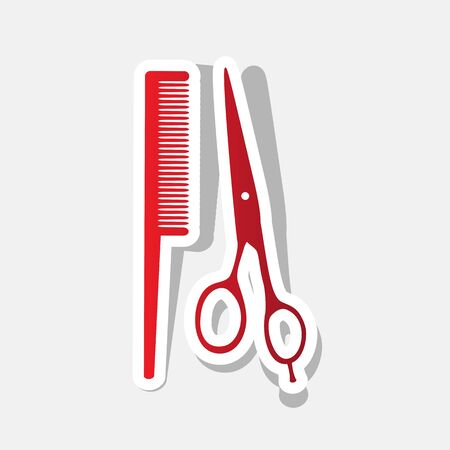 barbershop: Barber shop sign. Vector. New year reddish icon with outside stroke and gray shadow on light gray background. Illustration