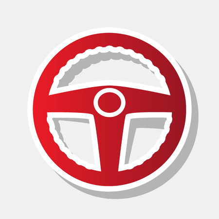 Car driver sign. Vector. New year reddish icon with outside stroke and gray shadow on light gray background.
