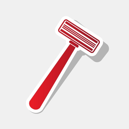 Safety razor sign. Vector. New year reddish icon with outside stroke and gray shadow on light gray background.
