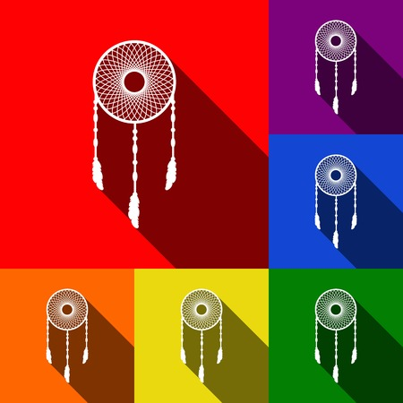 Dream catcher sign. Vector. Set of icons with flat shadows at red, orange, yellow, green, blue and violet background. Illustration