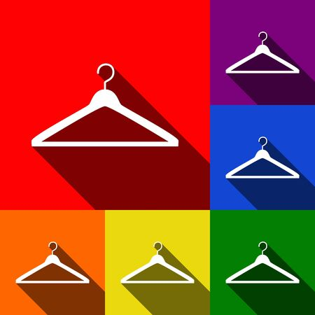 clothing rack: Hanger sign illustration. Vector. Set of icons with flat shadows at red, orange, yellow, green, blue and violet background.