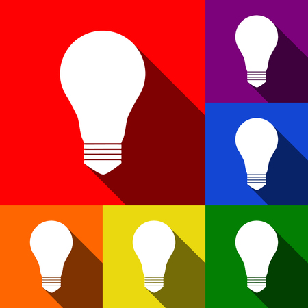 Light lamp sign. Vector. Set of icons with flat shadows at red, orange, yellow, green, blue and violet background.
