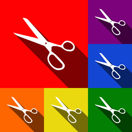 Scissors sign illustration. Vector. Set of icons with flat shadows at red, orange, yellow, green, blue and violet background.