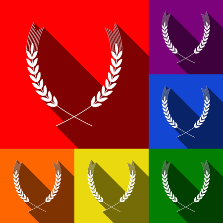 spica: Wheat sign illustration. Spike. Spica. Vector. Set of icons with flat shadows at red, orange, yellow, green, blue and violet background. Illustration