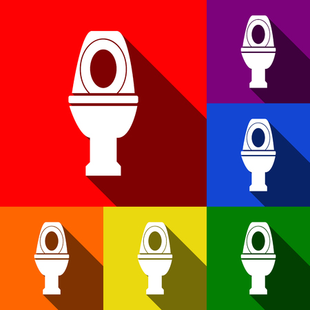 rom: Toilet sign illustration. Vector. Set of icons with flat shadows at red, orange, yellow, green, blue and violet background. Illustration