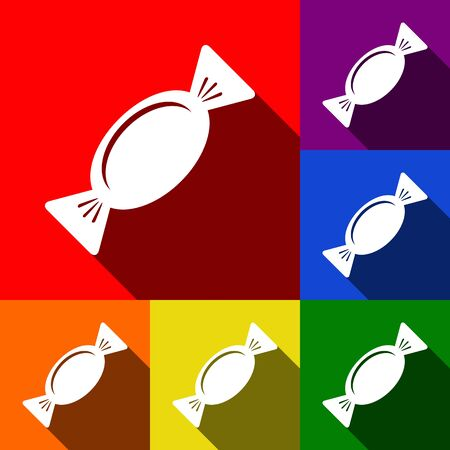 Candy sign illustration. Vector. Set of icons with flat shadows at red, orange, yellow, green, blue and violet background. Illustration