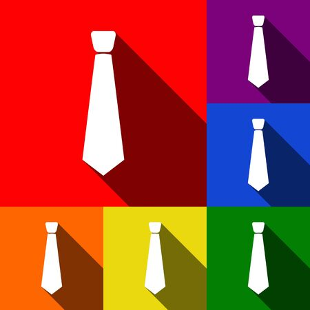Tie sign illustration. Vector. Set of icons with flat shadows at red, orange, yellow, green, blue and violet background.
