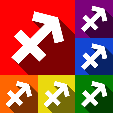 Sagittarius sign illustration. Vector. Set of icons with flat shadows at red, orange, yellow, green, blue and violet backgrounds.