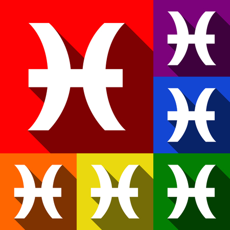 ecliptic: Pisces sign illustration. Vector. Set of icons with flat shadows at red, orange, yellow, green, blue and violet background.