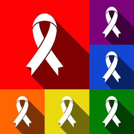 awareness ribbon sign. Vector. Set of icons with flat shadows at red, orange, yellow, green, blue and violet backgrounds.