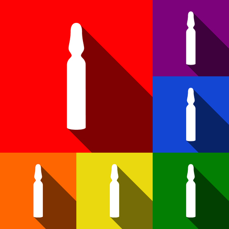 Medical ampoule sign. Vector. Set of icons with flat shadows at red, orange, yellow, green, blue and violet backgrounds.