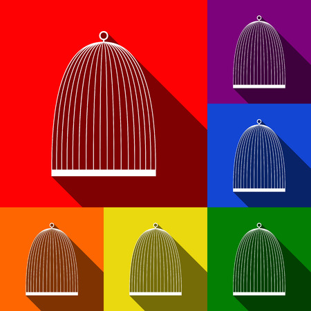 Bird cage sign. Vector. Set of icons with flat shadows at red, orange, yellow, green, blue and violet background. Ilustração