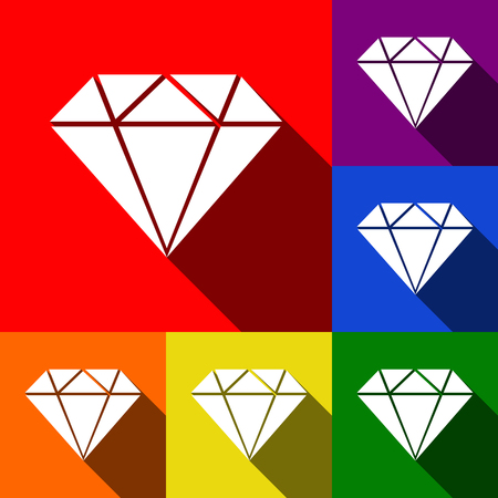 Diamond sign illustration. Vector. Set of icons with flat shadows at red, orange, yellow, green, blue and violet background. Illustration