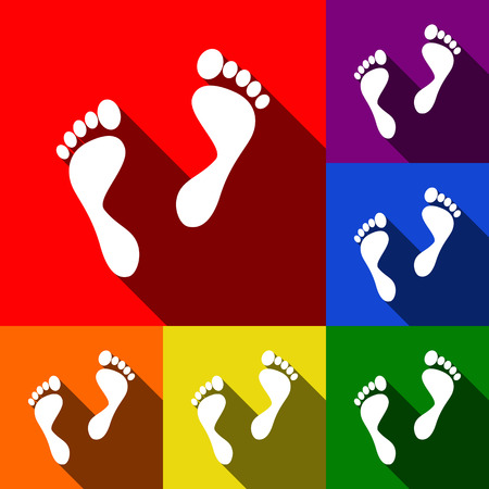 alibi: Foot prints sign. Vector. Set of icons with flat shadows at red, orange, yellow, green, blue and violet background.
