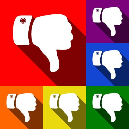 disapprove: Hand sign illustration. Vector. Set of icons with flat shadows at red, orange, yellow, green, blue and violet background. Illustration