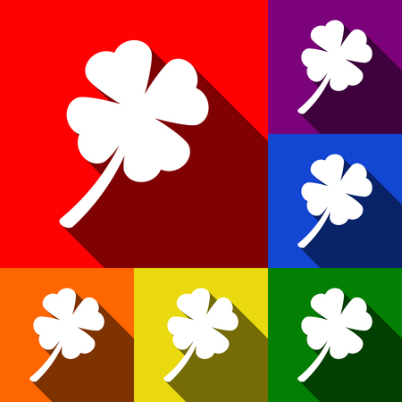 clover leaf shape: Leaf clover sign. Vector. Set of icons with flat shadows at red, orange, yellow, green, blue and violet background.