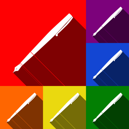 Pen sign illustration. Vector. Set of icons with flat shadows at red, orange, yellow, green, blue and violet background.