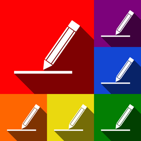 Pencil sign illustration. Vector. Set of icons with flat shadows at red, orange, yellow, green, blue and violet background.