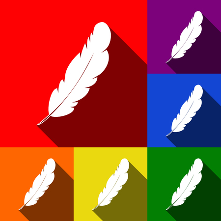 Feather sign illustration. Vector. Set of icons with flat shadows at red, orange, yellow, green, blue and violet background. Illustration