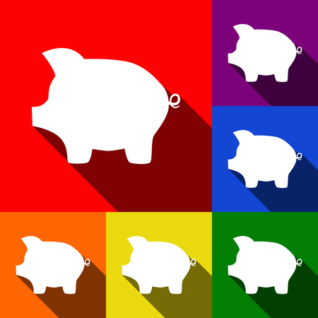 Pig money bank sign. Vector. Set of icons with flat shadows at red, orange, yellow, green, blue and violet background. Illustration
