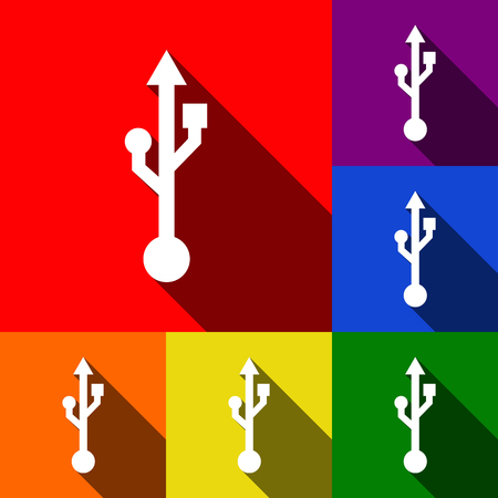 storage compartment: USB sign illustration. Vector. Set of icons with flat shadows at red, orange, yellow, green, blue and violet background.