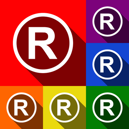 Registered Trademark sign. Vector. Set of icons with flat shadows at red, orange, yellow, green, blue and violet background.