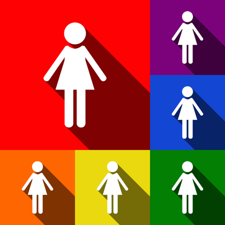 Woman sign illustration. Vector. Set of icons with flat shadows at red, orange, yellow, green, blue and violet background. Illustration