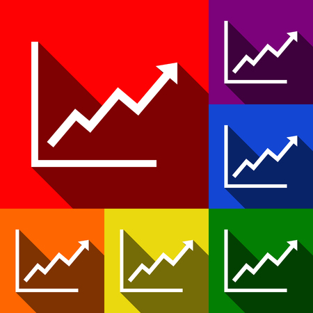 bargraph: Growing bars graphic sign. Vector. Set of icons with flat shadows at red, orange, yellow, green, blue and violet background.