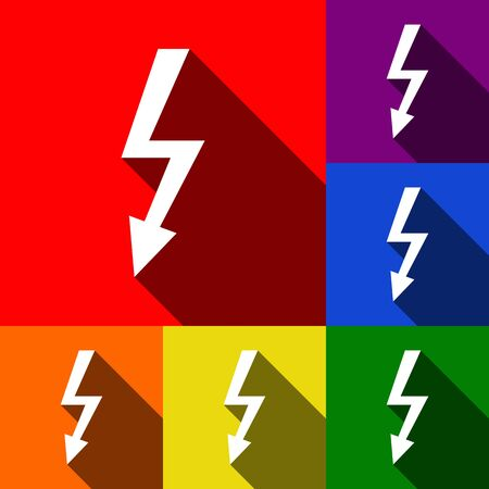 High voltage danger sign. Vector. Set of icons with flat shadows at red, orange, yellow, green, blue and violet background. Illustration
