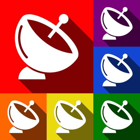 Satellite dish sign. Vector. Set of icons with flat shadows at red, orange, yellow, green, blue and violet background.