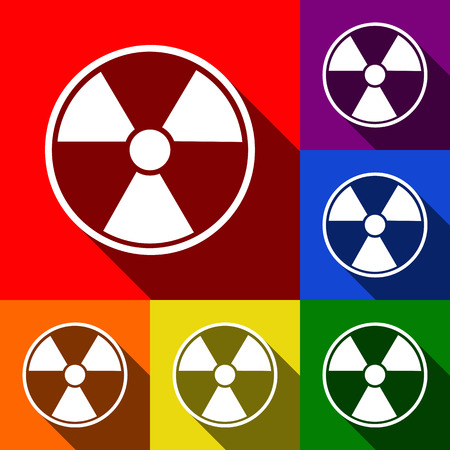 Radiation Round sign. Vector. Set of icons with flat shadows at red, orange, yellow, green, blue and violet background.