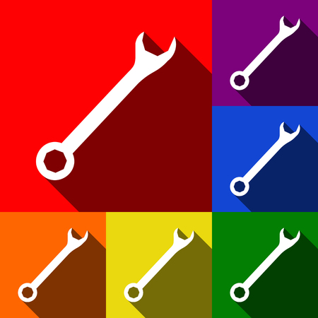 Crossed wrenches sign. Vector. Set of icons with flat shadows at red, orange, yellow, green, blue and violet background.