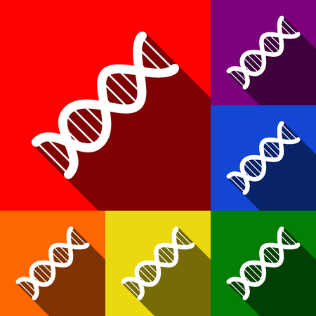 The DNA sign. Vector. Set of icons with flat shadows at red, orange, yellow, green, blue and violet background. Illustration