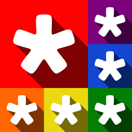 reference point: Asterisk star sign. Vector. Set of icons with flat shadows at red, orange, yellow, green, blue and violet background. Illustration