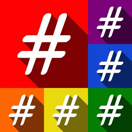 Hashtag sign illustration. Vector. Set of icons with flat shadows at red, orange, yellow, green, blue and violet background. Illustration