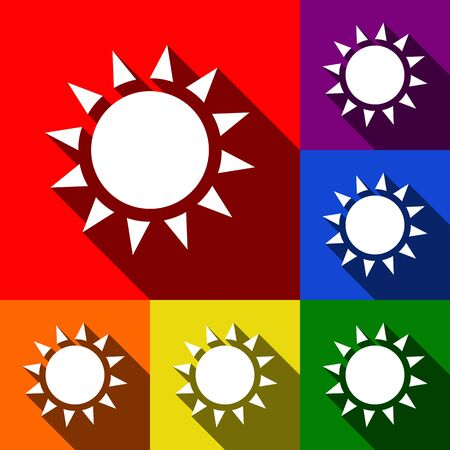 Sun sign illustration. Vector. Set of icons with flat shadows at red, orange, yellow, green, blue and violet background.