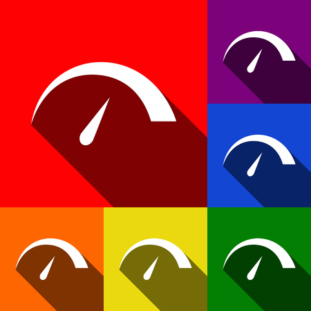 Speedometer sign illustration. Vector. Set of icons with flat shadows at red, orange, yellow, green, blue and violet background.