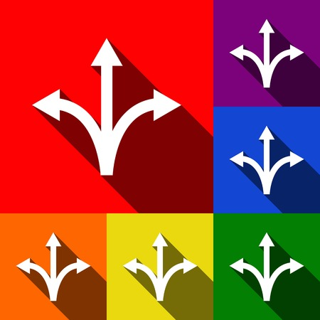 Three-way direction arrow sign. Vector. Set of icons with flat shadows at red, orange, yellow, green, blue and violet background. Illustration