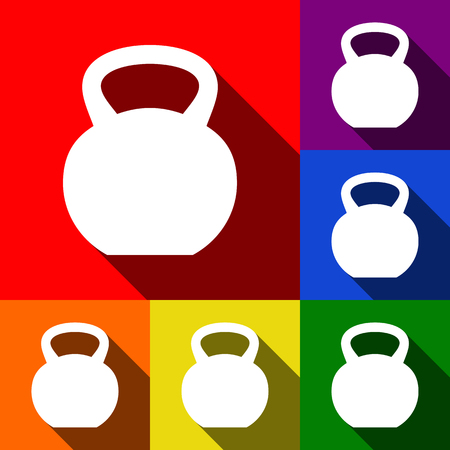 Fitness Dumbbell sign. Vector. Set of icons with flat shadows at red, orange, yellow, green, blue and violet background. Illustration