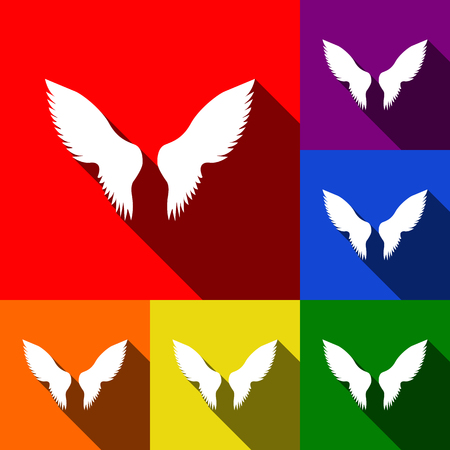Wings sign illustration. Vector. Set of icons with flat shadows at red, orange, yellow, green, blue and violet background.